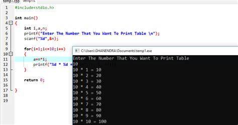 C Program To Print Multiplication Table Using For Loop