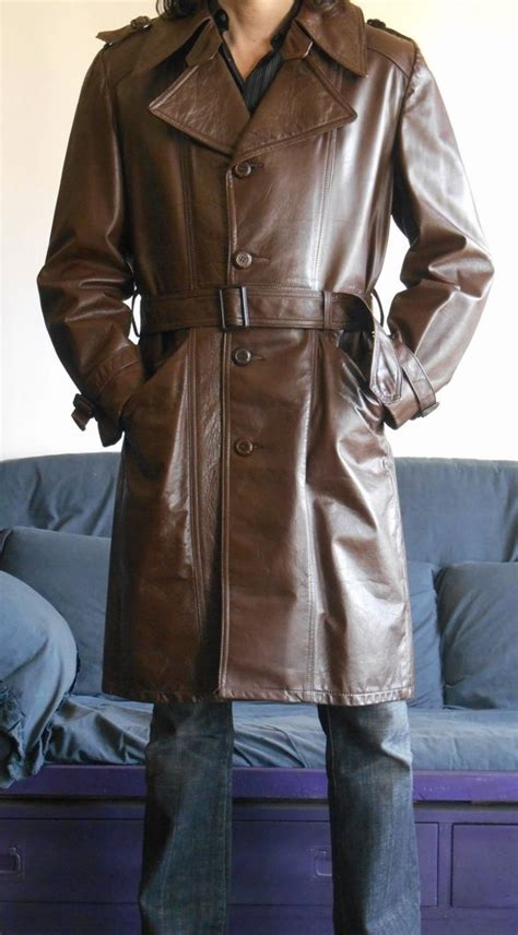 Mens american leather trench coat vintage 70's size M in