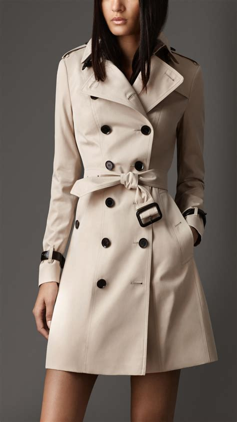 Burberry Long Leather Detail Gabardine Trench Coat in