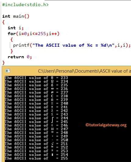 C Program to find ASCII Value of a Character